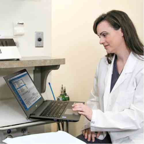 Image of dentist looking at computer with dental software